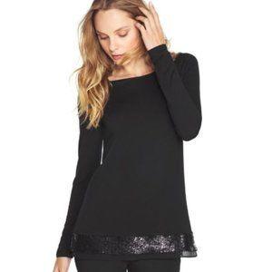 WHBM Black Knit Tee Tunic Sequin Trim Black M NWOT